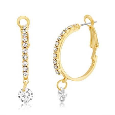 Lesa Michele Women's White Crystal Dangle 20MM Hoop Earrings in Yellow Gold Plated Brass