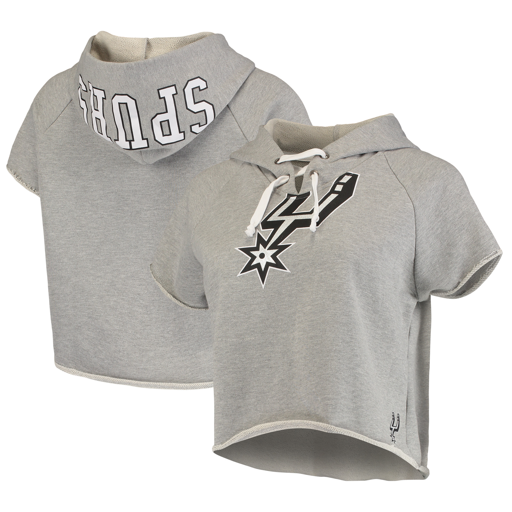 San Antonio Spurs FISLL Women's French Terry Raw Edge Cropped Hoodie - Heather Gray