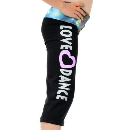 Girl's Capri LOVE DANCE Yoga Pants Galaxy - Small (6) / Galaxy