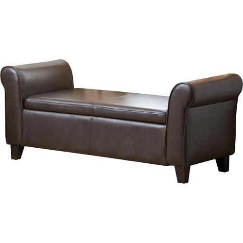 Abbyson Living Camden Faux Leather Storage Ottoman Bench, Dark Brown by Abbyson Living