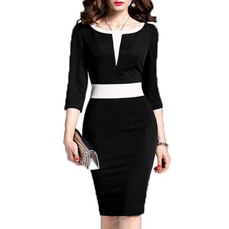 Women's 2/3 Sleeve Colorblock Slim Bodycon Business Pencil Dress - Juniors Colorblock Dress