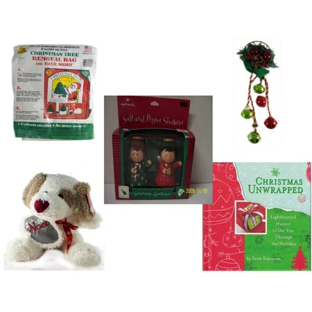 Christmas Fun Gift Bundle [5 Piece] -  Tree Removal Bag And Tree Skirt - Festive Holly Berry & Pinecone Door Knob Jingler - Hallmark Seasons Greetings Salt and Pepper Shaker Set - Cuddly Friends Noe (Door Skirt)
