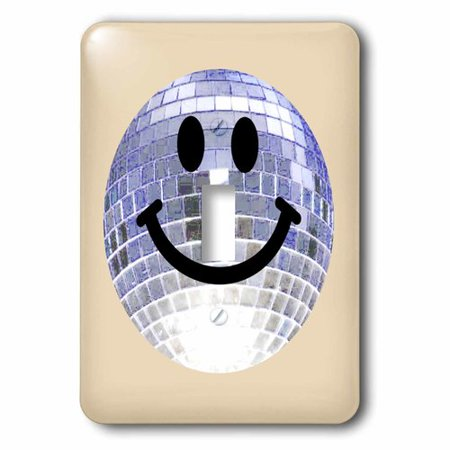 3dRose Silver Disco Ball Smiley Face - seventies 70s style Discoball Dance hall diva smilie on cream, Single Toggle - Seventies Disco