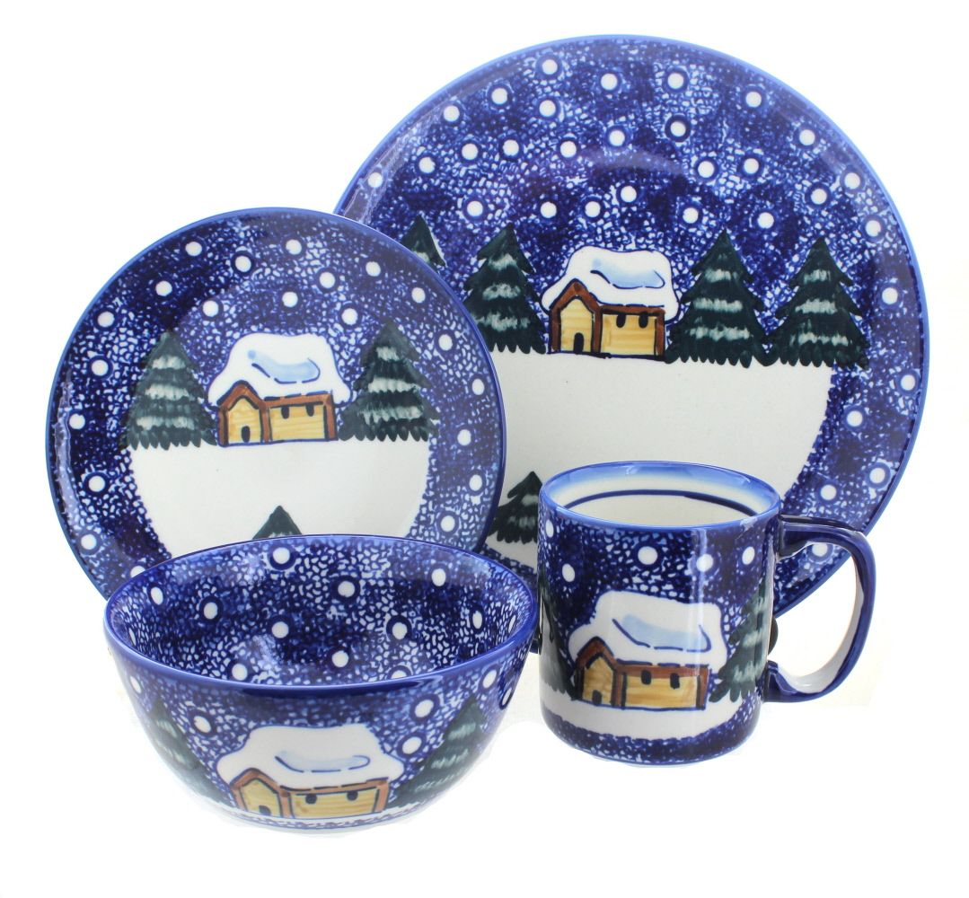 Polish Pottery Winter Forest 4 Piece Dinner Set