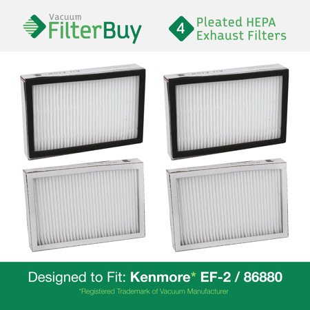 4   Kenmore Ef 2 86880 Exhaust Vacuum Hepa Filters  Designed By Filterbuy To Replace Sears Kenmore Part   20 86880  86880   40320  Ef2  610445  Also Replaces Panasonic Mc V194h