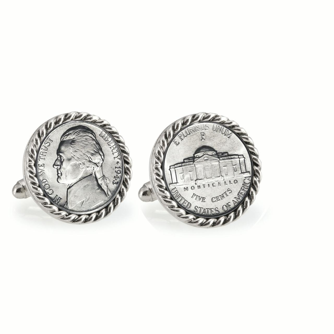 Silver Jefferson Nickel Wartime Nickel Silvertone Rope Bezel Coin Cuff Links