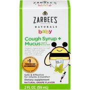 Zarbee's Naturals Baby Cough Syrup + Mucus, Natural Grape, 2 fl oz