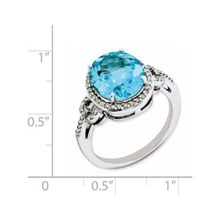 Sterling Silver Rhodium Checker-Cut Blue Topaz & Diamond Ring - image 1 of 2