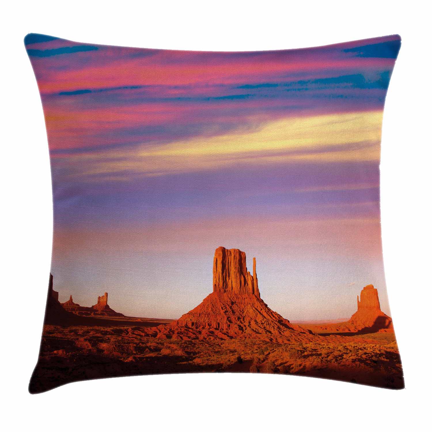United States Throw Pillow Cushion Cover Monument Valley West Mitten And Merrick Butte Sunset Utah Desert Decorative Square Accent Pillow Case 20 X 20 Inches Dark Orange Pink Blue By Ambesonne