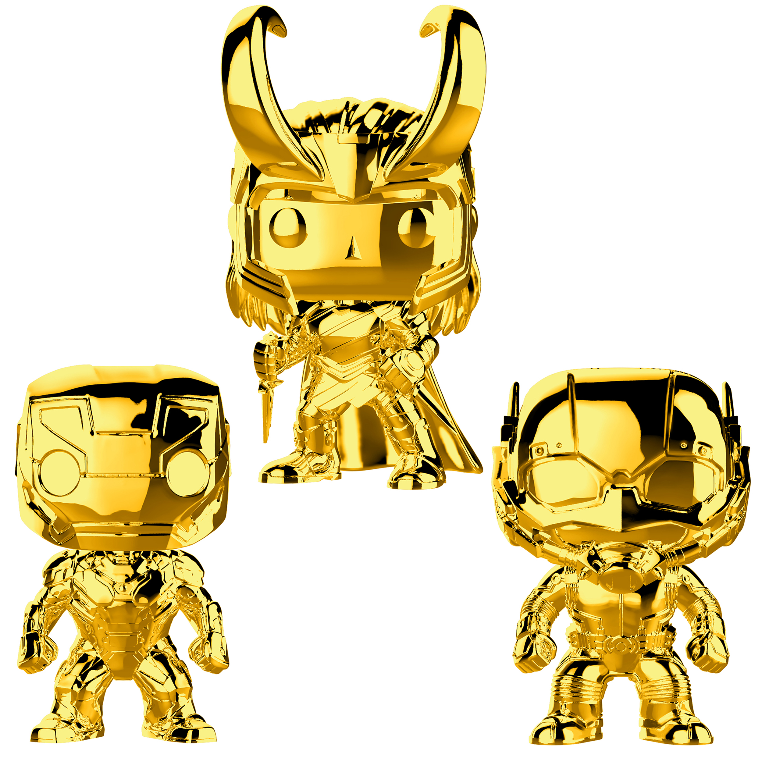 Funko POP! Marvel Studios 10 Gold Chrome Collectors Set 1 - Iron Man, Ant-Man, Loki