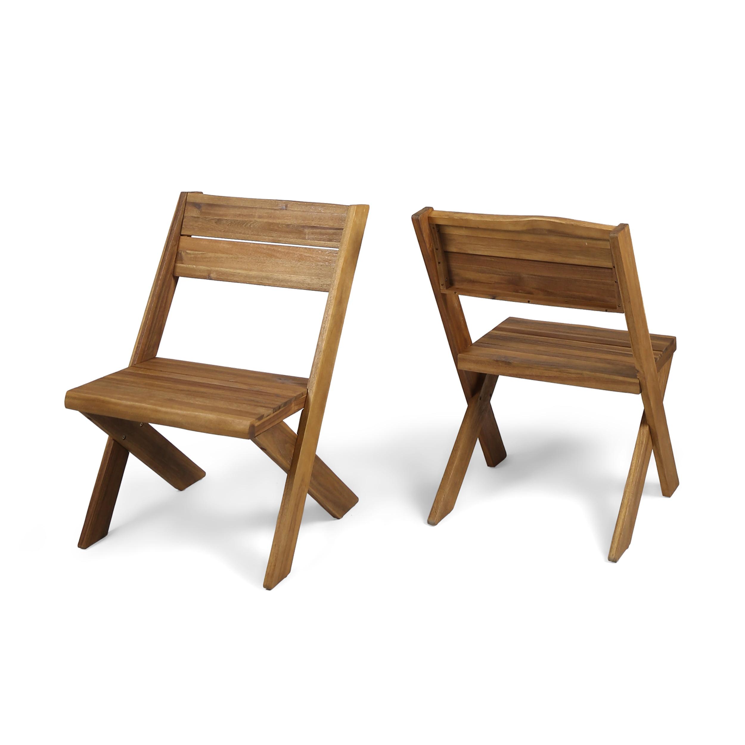 Irene Outdoor Farmhouse Acacia Wood Chairs, Set of 2, Teak