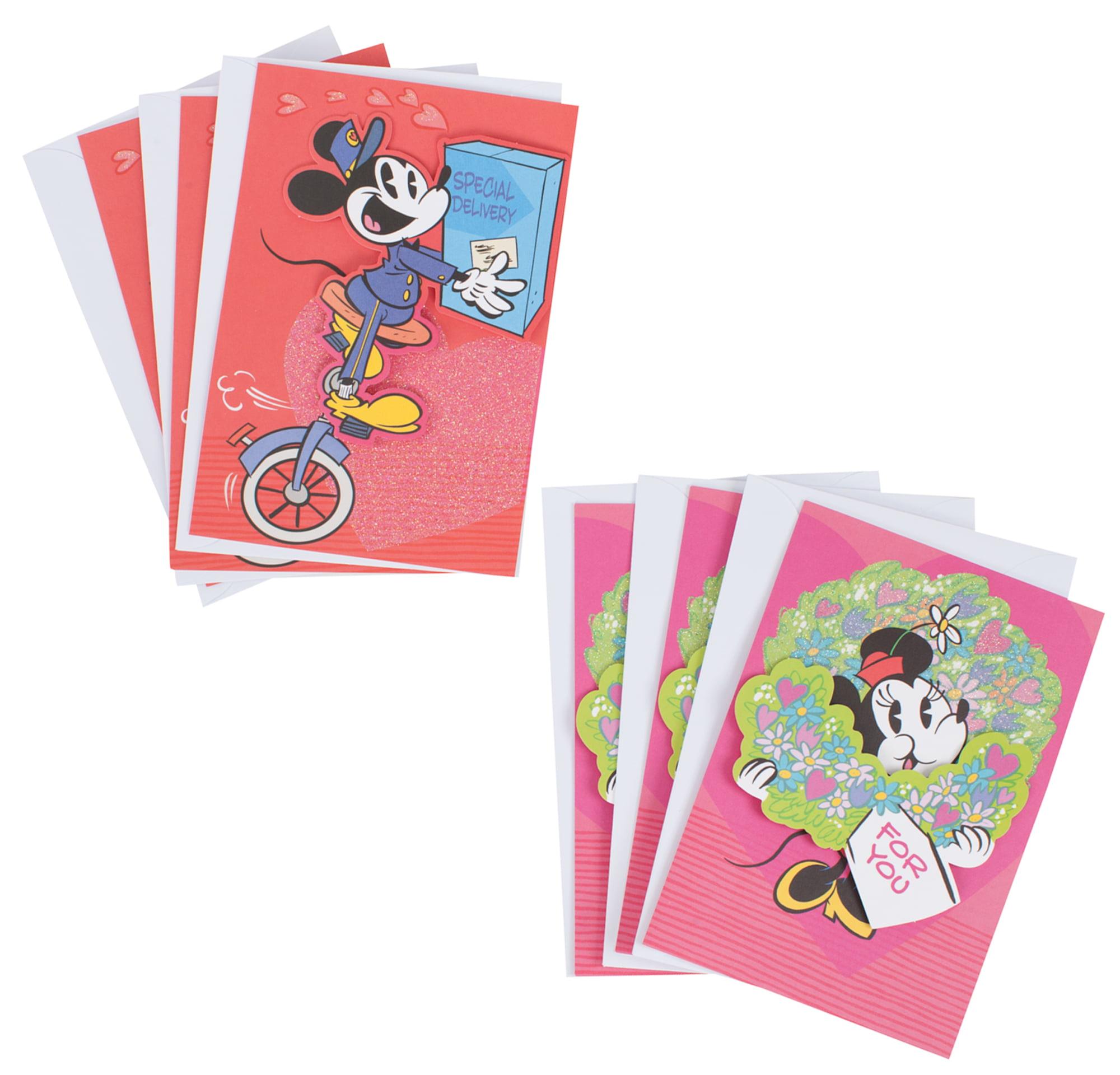 Hallmark Mickey Valentines Day Greeting Card Assortment 6 Cards