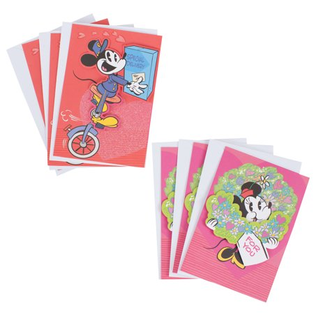 Minnie Mouse Invitation (Hallmark Disney Valentine's Day Card Assortment, Mickey Mouse and Minnie Mouse (6 Cards with)