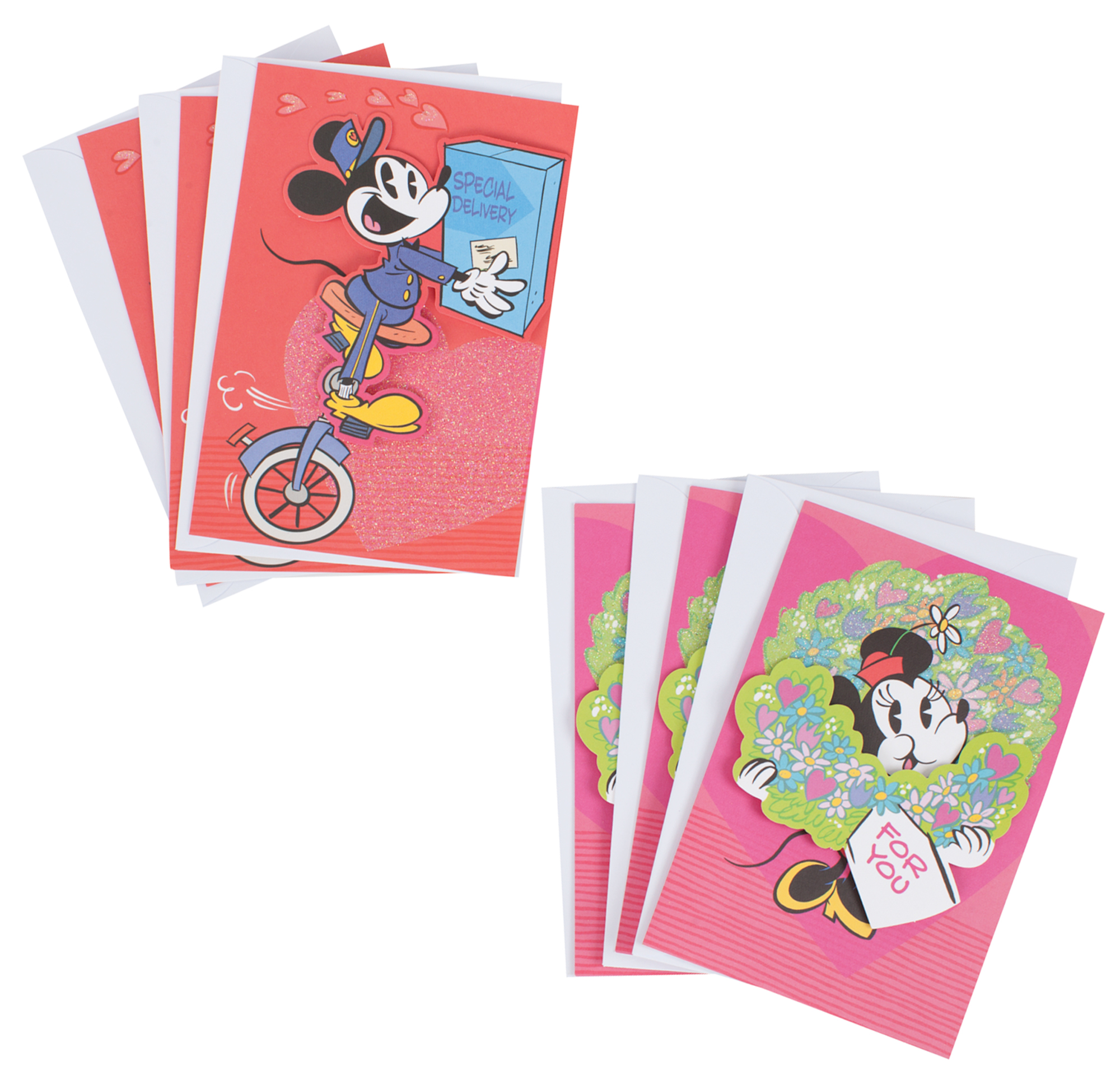 Hallmark Disney Valentine's Day Card Assortment, Mickey Mouse and Minnie Mouse (6 Cards with Envelopes)