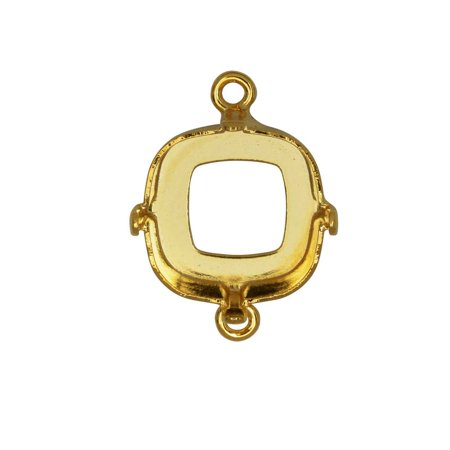 Gita Jewelry Stone Setting for Swarovski Crystal, Open Back Square Connector for 12mm Cushion, Gold (Swarovski Open Wing)