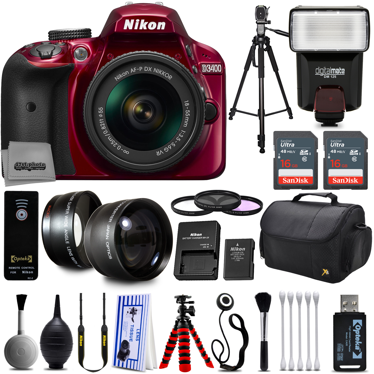 Red Nikon D3200 Digital SLR Camera + 18-55mm AF-S DX Nikkor VR + 2.2X Telephoto and 0.43X Macro Lens Kit + 32GB Memory + Bounce Swivel Flash + Tripod + Padded Bag + UV CPL FLD Filter Bundle + Remote