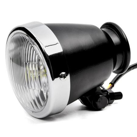 """Krator 4.25"""" Mini Headlight w/ High Low Beam Lights LED Bulb Black w/ Chrome Housing for Harley Davidson XL 883 Hugger Sportster - image 1 of 8"""