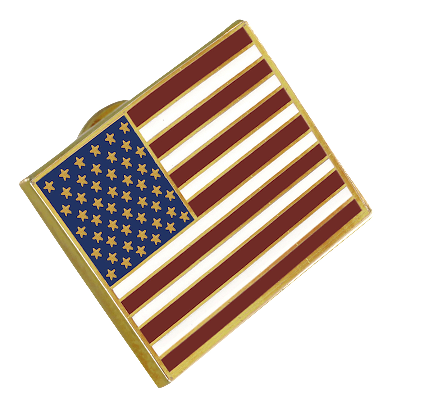 American Flag Lapel Pin PROUDLY MADE IN USA-- Gold Plated Rectangle Bulk (10 Pin)