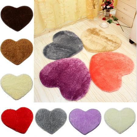 Meigar Super Soft Lovely Area Rugs, 20''x16'' Fluffy Shaggy Anti-Skid Doormats Carpet Floor Rugs Heart Shape Decor Mat for Bathroom, Bedroom, Kitchen, Living