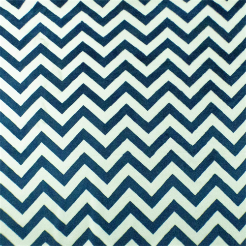 Blue/White Chevron Stripe Minky, Fabric By the Yard