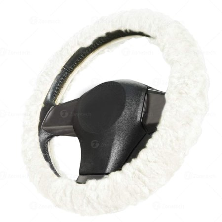 Zone Tech Plush Genuine Sheepskin Stretch  On Vehicle Steering Wheel Cover Pure White Car Wheel Protector