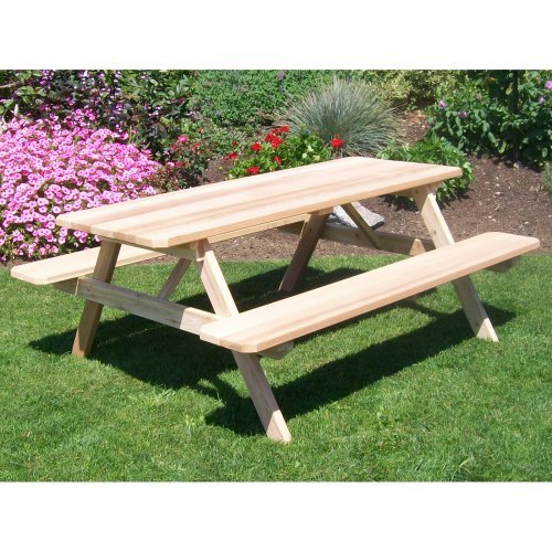 A & L Furniture Western Red Cedar Picnic Table with Attached Benches