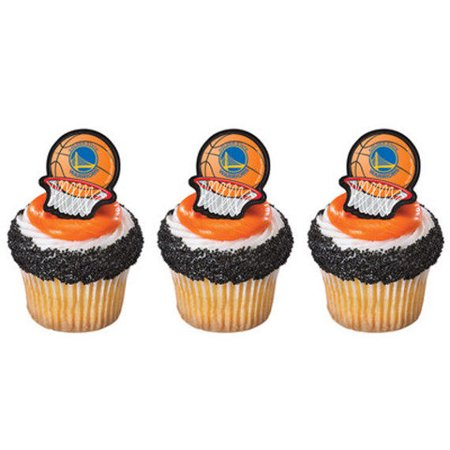 24 Golden State Warriors Basketball NBA Cupcake Cake Rings Birthday Party Favors Toppers for $<!---->