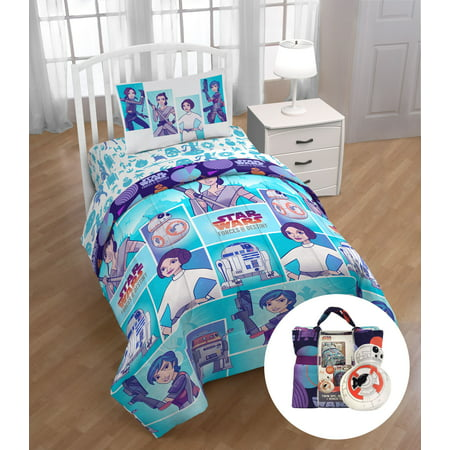 Star Wars Forces of Destiny Twin Bed Set with Bonus Tote and Mini Pillow Buddy