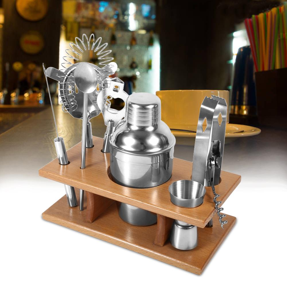 Yosoo Cocktail Shaker Set Stainless,Cocktail Shaker,8pcs Stainless Steel Cocktail Shaker Mixer Drinker with Wood Holder Stand Drinking Tool Bar Set