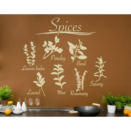 Spices Set with Parsley, Basil, Savory, Rosemary, Mint, Laurel and Lemon Balm Wall Decal - kitchen wall decal, sticker, mural vinyl art home decor - 1873 - Yellow, 39in x 35in - Mint Green Wall Decor