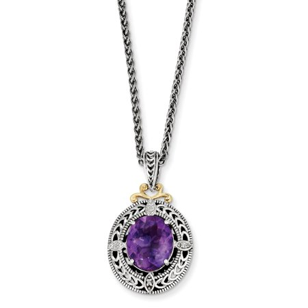 - Sterling Silver 14k 0.02ct Gold Diamond & Amethyst Vintage Style Necklace