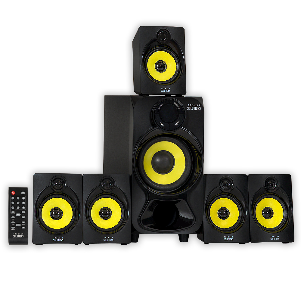 Theater Solutions TS518 5.1 Powered Bluetooth Home Theater Multimedia Speaker System with USB/SD Inputs and FM Tuner