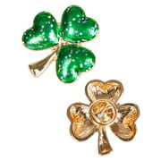 "St Patricks Day Green And Gold 1"" Sparkling Irish Shamrock Pin Costume Accessory"