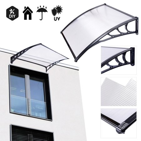 Koval Inc. 3 ft DIY Overhead Clear Outdoor Awning Patio Cover Door Window Polycarbonate Modern Design UV Rain Sunshine (3 FT, Black)