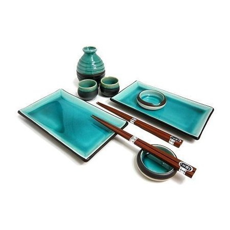 Sushi Set For Two - Japanese Blue Sushi Plate Set and Sake Set for Two, Ocean Blue