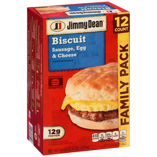 Jimmy Dean Sausage, Egg & Cheese Biscuit Sandwiches, 12 count, 54 oz
