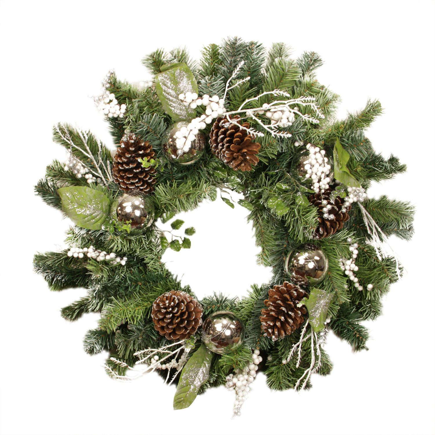 """24"""" Pre-Decorated and Lightly Frosted Silver Ball, Berry and Pine Cone Artificial Christmas Wreath - Unlit"""
