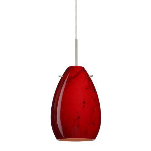 Besa Lighting Pera 6 Satin Nickel One-Light Mini Pendant with Magma Glass