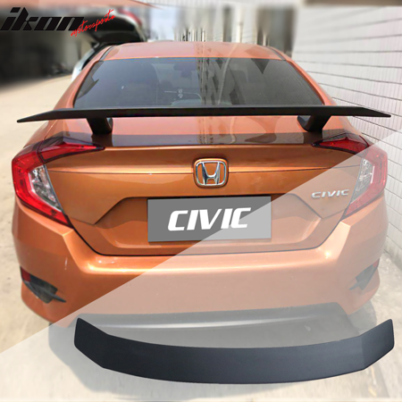 Civic Del Sol Spoiler - Fits 16-18 Honda Civic Sedan SI Coupe Style Trunk Spoiler Matte Black - ABS