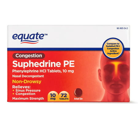 Sinus Tablet Vitamins - Equate Congestion Suphedrine PE Nasal Decongestant Tablets, 10 mg, 72 Ct