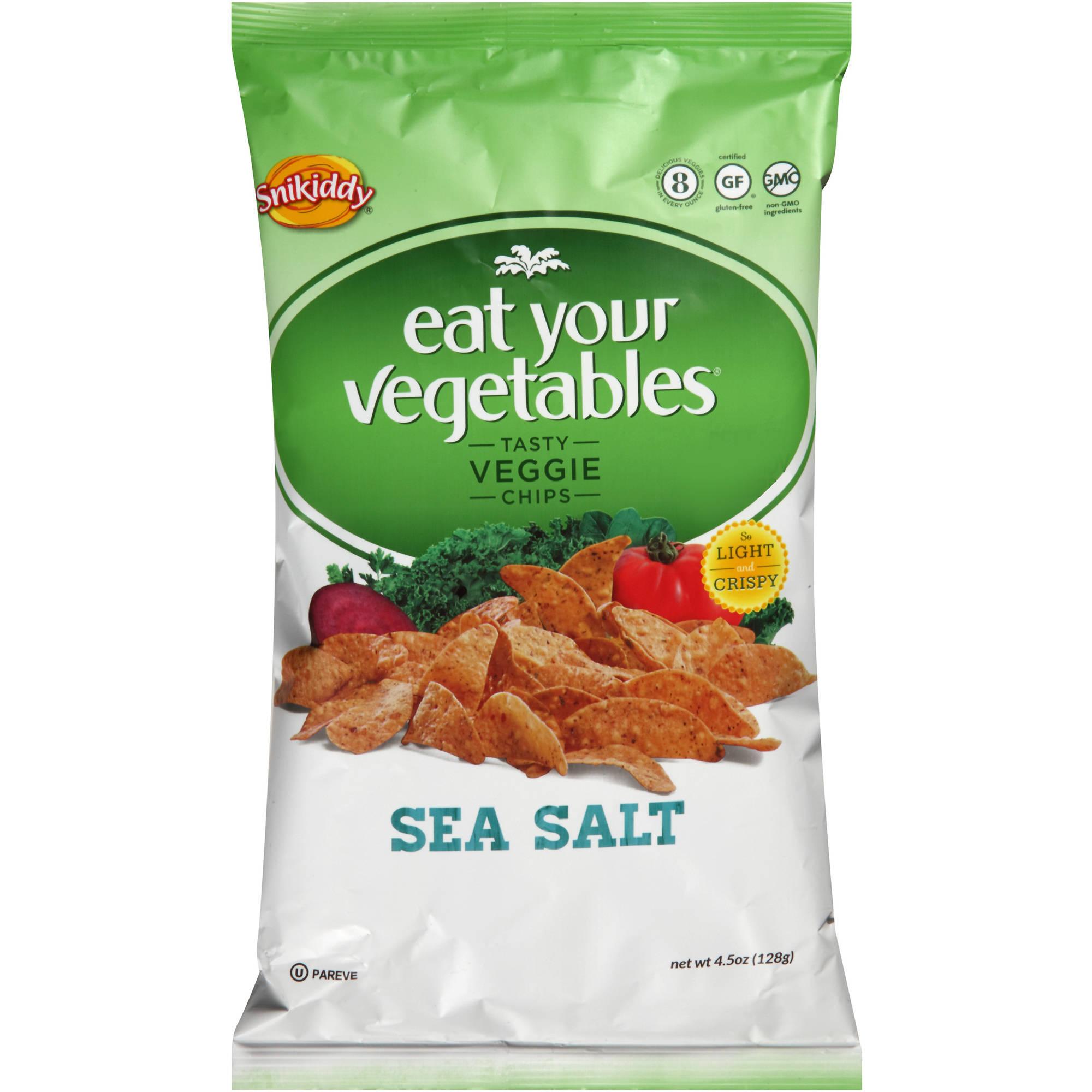 Good Health Natural Products Inc. Snikiddy Snacks Eat Your Vegetables Tasty Veggie Chips  -  Sea Salt  -  Case of 12  -  4.5 oz.  -
