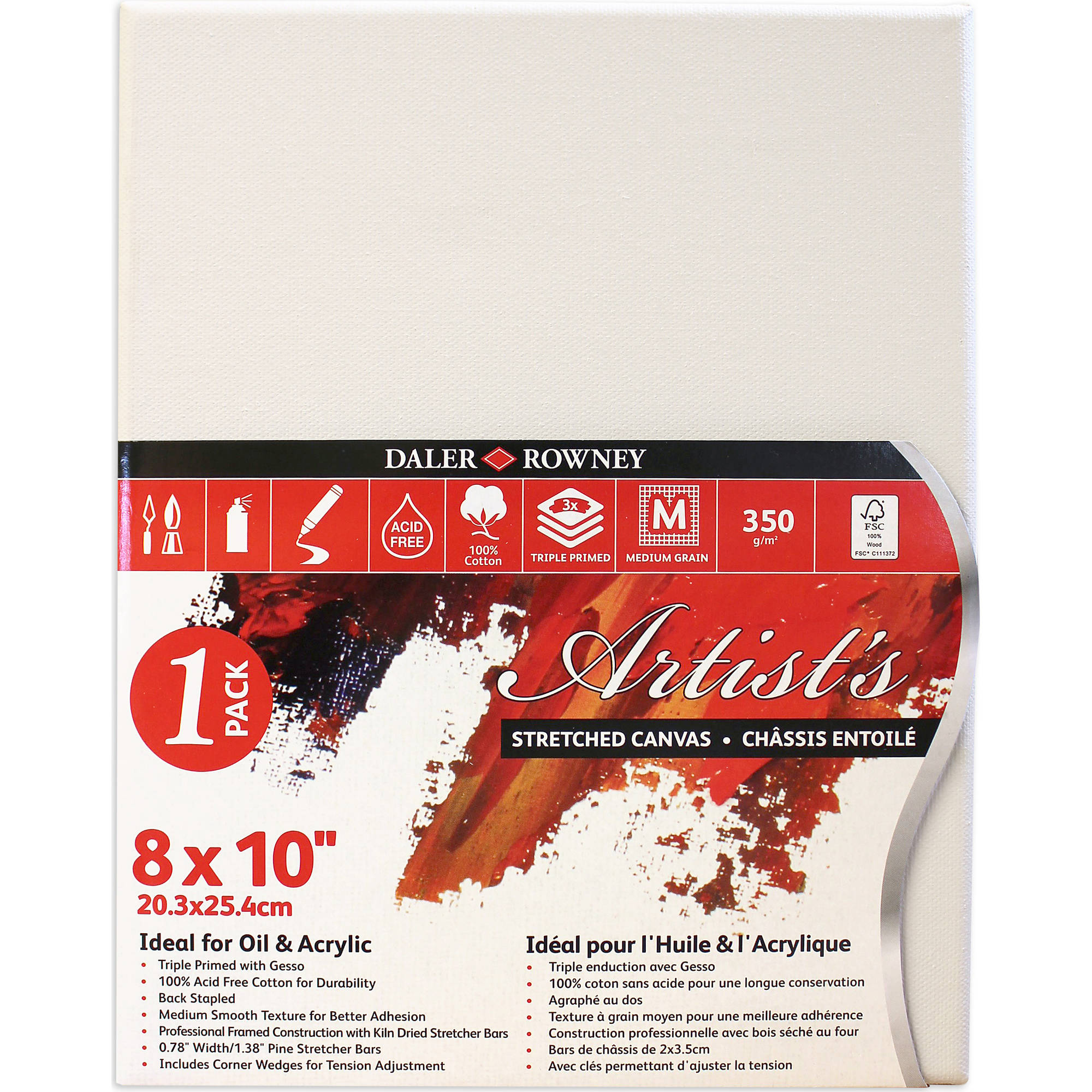 "Artist's Stretched Canvas, 8"" x 10"", 1 Pack"
