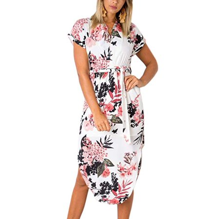 Women Dresses Summer Casual V-Neck Floral Print Geometric Pattern Belted Dress