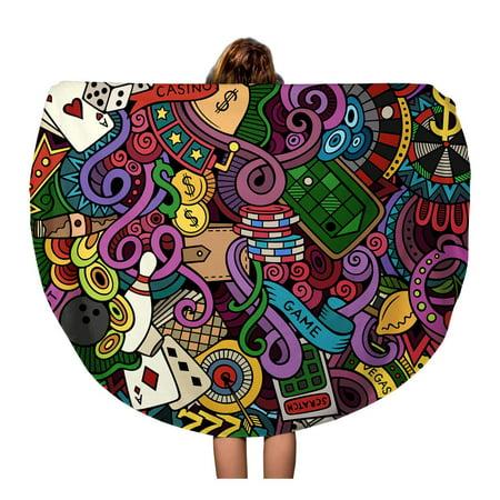 Vegas Coin - SIDONKU 60 inch Round Beach Towel Blanket Pattern Cartoon Doodles Subject of Casino Color Vegas Coins Travel Circle Circular Towels Mat Tapestry Beach Throw