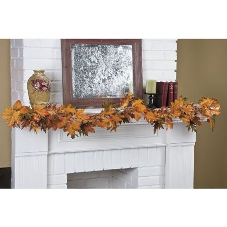 Fall Leaves Garland (5-Ft Glittery Maple Leaf Garland - Fall Garlands and Floral Decorations, 5-Ft Long By)