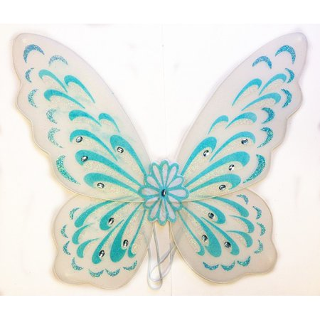 Adult Blue White Snow Princess Fairy Wings