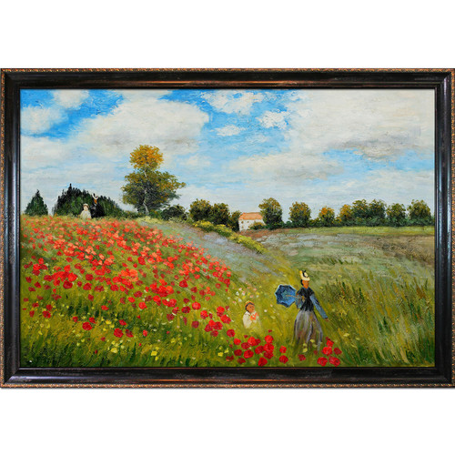 Tori Home Poppy Field in Argenteuil by Claude Monet Framed Original painting