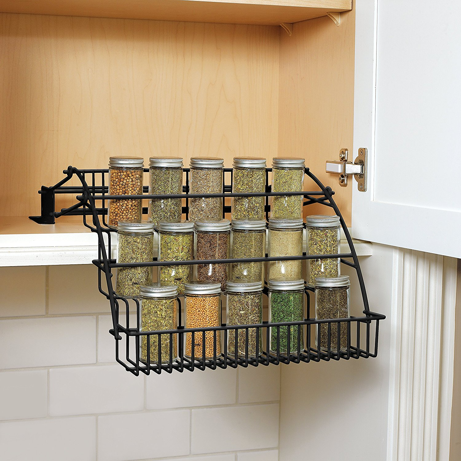 Pull down spice rack fg802009 pull down design that gives you visibility to see all your spices by rubbermaidusa walmart com