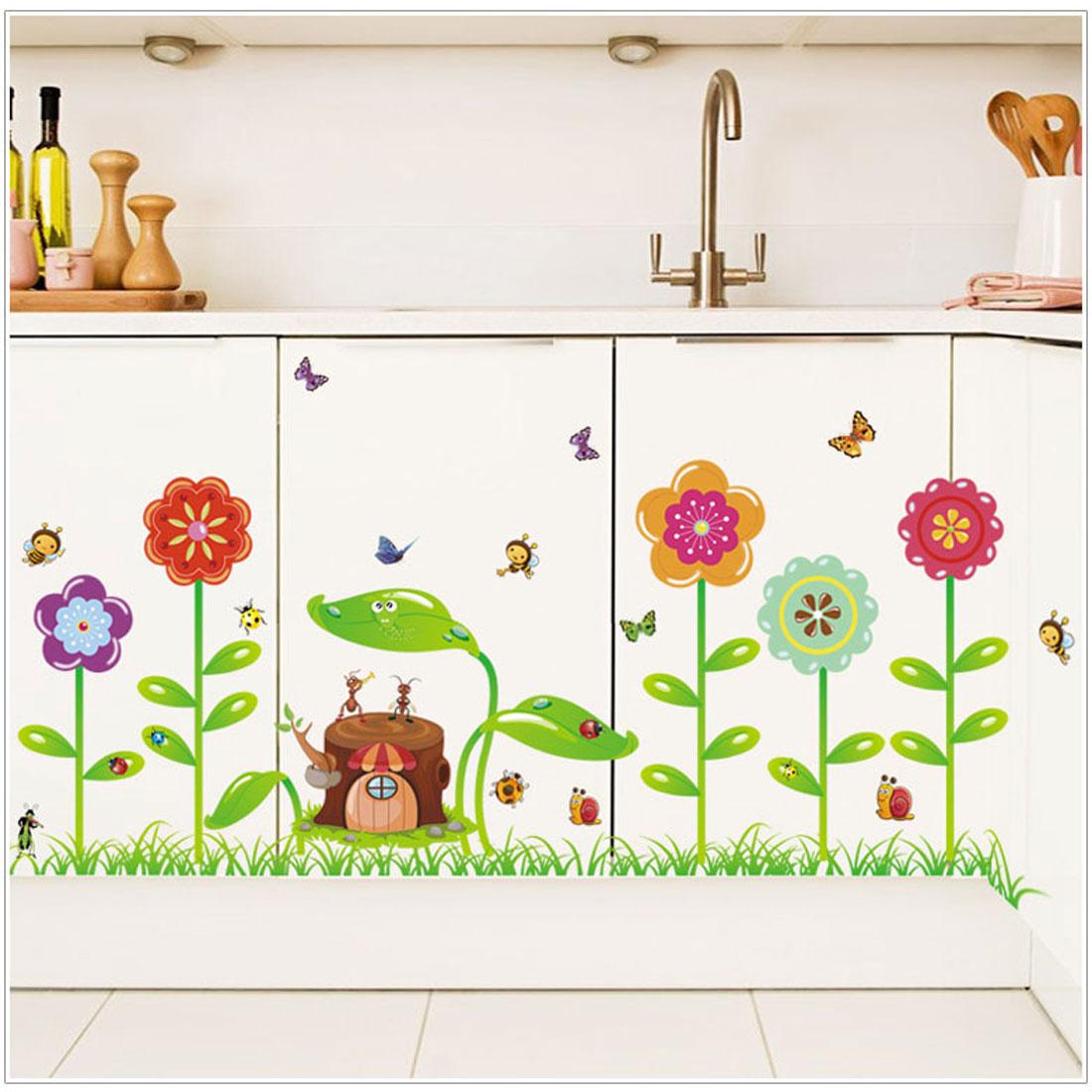 Flower Stump Print Water Resistant Adhesive Wall Sticker Decal Mural 70 x 50cm - image 1 de 5
