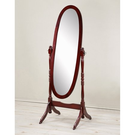 Roundhill Traditional Queen Anna Style Wood Floor Cheval Mirror, Cherry Finish